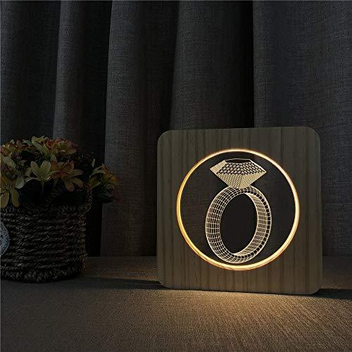 Anillo de Diamante acrílico lámpara de Mesa de luz Nocturna de Madera lámpara de Grabado de Control de Control para decoración de Habitaciones Infantiles