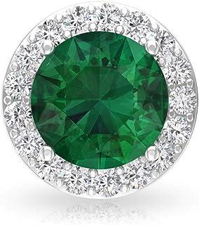 Women 1.87 Carat Lab Created Emerald Certified Moissanite Halo Earring, Green Gemstone Bridal Wedding Stud Earring, May Bi...