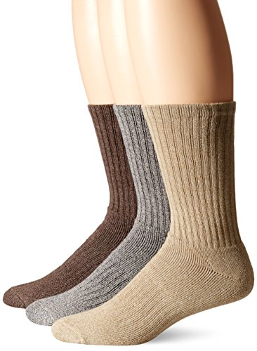 Dockers Men's 3 Pack Enhanced and Soft Feel Cushion Crew, Khaki Assorted, Shoe Size: 6-12 (Sock Size: 10-13)