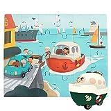 Nene Toys - Puzzle Infantil de Madera + Coche de Juguete para Niños y Niñas de 2 3 4 años - Juego de Rompecabezas Educativo Que Desarrolla Capacidades Cognitivas en Etapa Preescolar [Barco]