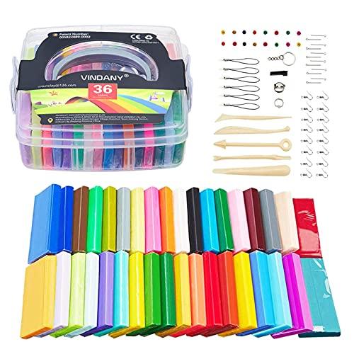 Vindany 36 Colores Arcilla polimérica Modelado de Arcilla Kit de Arcilla bicarbonato Suave no tóxico, Bricolaje con Herramientas y Caja de Almacenamiento Navidad para niños