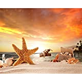 N / A Canvas Painting Calligraphy Sunshine Beach Starfish Poster For Living Room Home Decoration Wall Picture Frameless 50x40cm