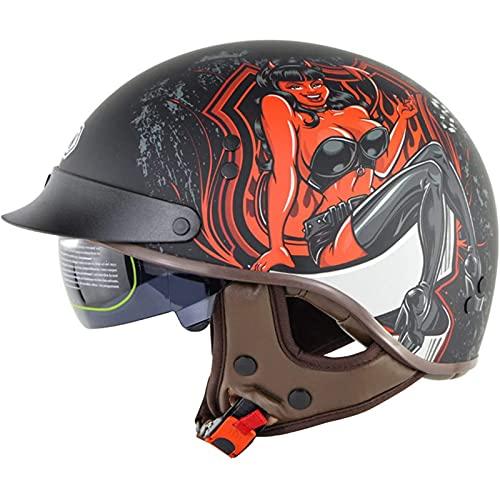 Casco Moto Abierto con Visera,Adults Casco Exterior Equitación Protectora,Casco Jet Abierto Retro para Street Bike Cruiser Chopper Moped,ECE Homologado G,L=57~58CM