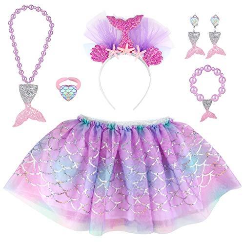 Hifot Sirena Tutu niña Vestidos Ballet con Diademas, Falda Tul Collar Pulsera Pendientes Anillos Princesa Disfraz Niñas Regalo 2-8 años