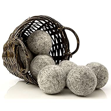 Organic Dark Wool Dryer Balls, 8-Pack — Made For Drying Colors/Darks — Natural Ecofriendly Fabric Softener — Reusable Dryer Sheets for Infants