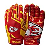 Wilson NFL Stretch Fit Football Gloves - Kansas City-Youth