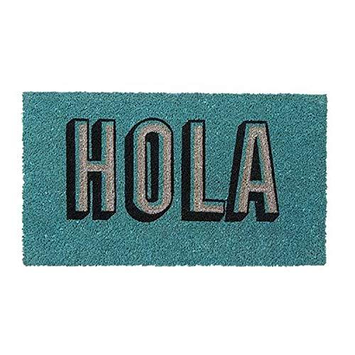 Hogar y Mas Felpudo Divertido/Original Antideslizante para Entrada, Realizado en Coco Natural con la Frase Hola 40x70 cm Azul