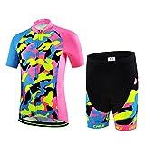 LSERVER-Niños Maillot de Bicicleta Ropa de Ciclo Camiseta/Pantalones/Conjunto, Azul Rosa Camuflaje(Conjunto), XL
