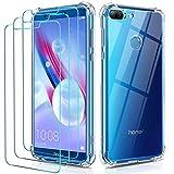ivoler Funda para Huawei Honor 9 Lite + 3 Unidades Cristal Vidrio Templado Protector de Pantalla, Ultra Fina Silicona Transparente TPU Carcasa Airbag Anti-Choque Anti-arañazos Caso