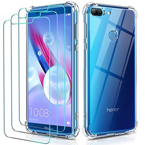 iVoler Cover per Huawei Honor 9 Lite, Antiurto Custodia con Paraurti in TPU Morbido e 3 Pezzi Pellicola Vetro Temperato, Ultra Sottile Trasparente Silicone Protettiva Case