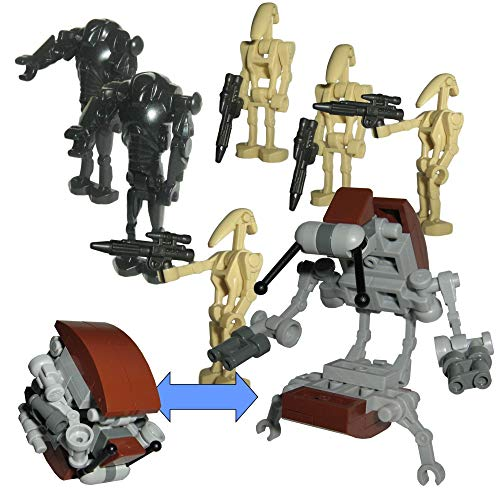 Custom Brick Design KUS Battle Pack V.1 mit Droideka sowie 4x B1 & 2x B2 Battle Droiden Minifiguren - modifizierte custom Figuren des bekannten Klemmbausteinherstellers & somit voll kompatibel zu Lego
