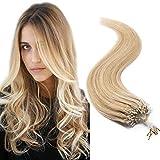 50cm - Nano Micro Ring Extensiones de 100% Cabello Natural de Remy [0.5g*100pcs] Pelo Humano Human Hair Extensions - 18P613# Rubio Ceniza y Rubia Dorado