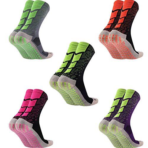 Manbozix Calcetines de Los Hombres 1/ 5 Pares Calcetines de Fútbol Calcetines Deportivos Antideslizantes Calcetines Transpirables Calcetines de Entrenamiento Unisexo para Adultos 38-44