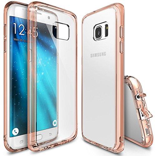 Funda Galaxy S7 Edge, Ringke [FUSION] Choque Absorción TPU Parachoques [Choque Tecnología Absorción][Conviviente tapón antipolvo] para Samsung Galaxy S7 Edge - Rose Gold Crystal