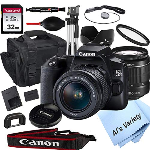 Canon EOS 250D (Rebel SL3) DSLR Camera with 18-55mm f/3.5-5.6 Zoom Lens + 32GB Card, Tripod, Case, and More (18pc Bundle) DSLR