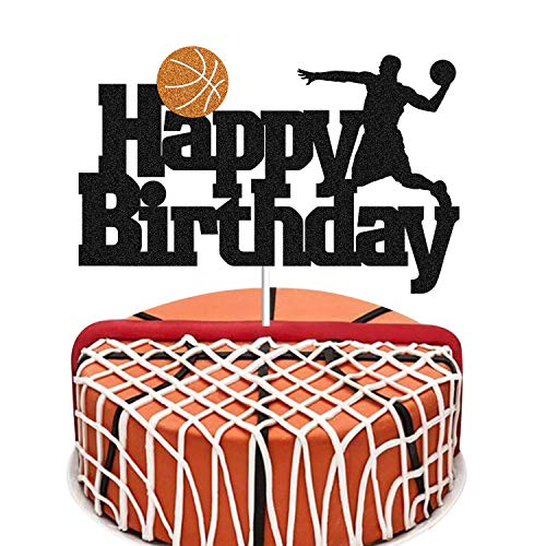 Basketball Cake Topper Basketball Scene Themed Cake Fruit Picks for Man Boys Birthday Event Party Supplis Black Glitter Decorations 1 Pack (Double Sided)
