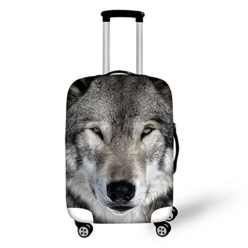 HUGS IDEA 26/28/30 Inch 3D Wolf Print Travel Luggage Cover Protector Spandex Trunk Case Cover