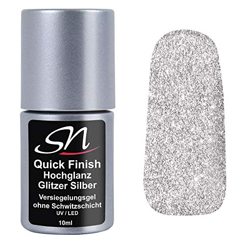 SN Quick Finish Glitzer Silber Hochglanz Versiegelungsgel ohne Schwitzschicht High Gloss Top Coat UV & LED Flex Gel für Gelnägel Acrylnägel Nagelgel 10ml