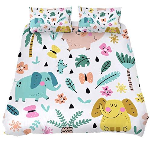 MUMIMI Juego de funda de edredón decorativa de 3 piezas con 2 fundas de almohada, elefantes con palmeras, flores y mariposas, cuatro tamaños