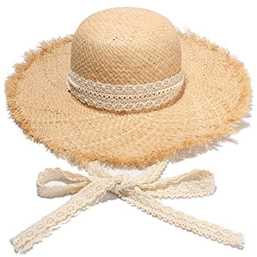 NJJX Sombreros De Sol De Paja Hechos A Mano Simples para Mujer, Gorros De ala Ancha Grande Gilrs, Gorros De Sol De Paja De Playa De Panamá De Rafia Natural para Vacaciones, Blanco
