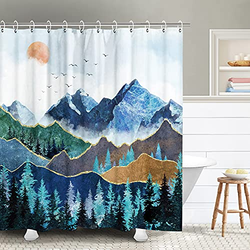 RosieLily Mountain Shower Curtain, Nature Shower Curtain Blue Shower Curtain Set Hooks, Waterproof Cool Art Forest Shower Curtain, Japanese Bathroom Decor Landscape Mountains Curtains, 72Wx72H Inch