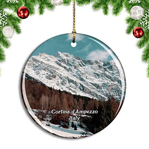 Weekino Italia Cortina d'Ampezzo Ski Decoración de Navidad Árbol de Navidad Adorno Colgante Ciudad Viaje Colección de Recuerdos Porcelana 2.85 Pulgadas