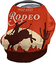 Nursing Cover Carseat Canopy, Western Cowboy Bull Sunset Soft and Breathable Stroller Covers for Breastfeeding Infants, Vintage Multiuse-Nursing Scarf,Stretchy Babysitting Scarf