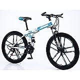 Folding Mountain Bike,Bicicleta 26 24 Pulgadas Amortiguador Dual Una Rueda Bicicleta De Velocidad Variable Carrera Cross-bicicleta De Montaña Rural-Rueda de 10 cuchillos blanca y azul 27 velocidades