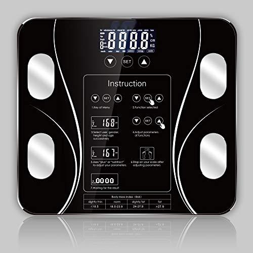 anruo Body Index Elektronische slimme weegschalen Badkamer LichaamsvetschaalDigitale weegschaal voor mensen Vloer LCD-scherm