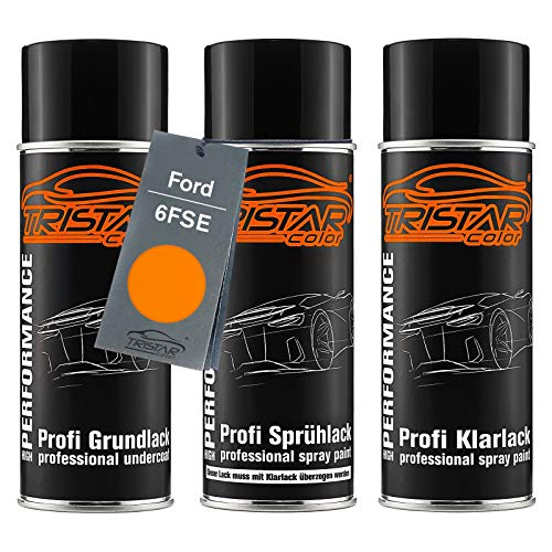 TRISTARcolor Autolack Spraydosen Set für Ford 6FSE Electric Orange Perl/Orange Electric Perl Grundlack Basislack Klarlack Sprühdose 400ml