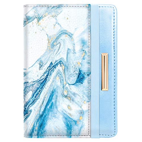 Passport Holder Cover,Traveling Passport Case Cute Passport Wallet for Women,Blue Marble