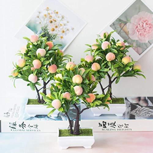 Dserw Artificial Bonsai,1Pc Artificial Flower Peach Tree Bonsai Home Office Garden Desktop Party Decor - Peach