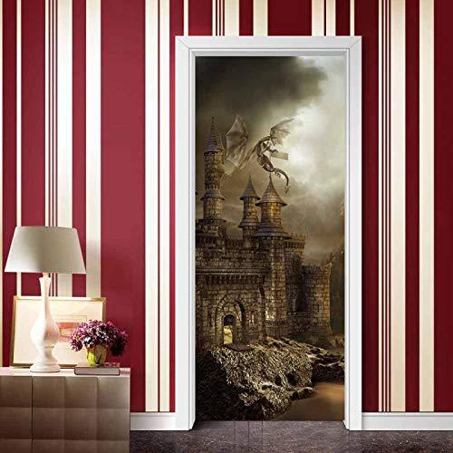 ZOOINB 3D Türaufkleber 77X200Cm Türtapete Selbstklebend Türposter - Sci-Fi-Film Castle Flying Dragon Fototapete Türfolie Poster Tapete Meer Aufkleber DIY Schlafzimmer Wandbild PVC wasserdichte Tapete