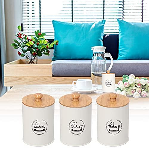 Jopwkuin Recipiente, Recipiente de té Duradero 3 Piezas para Cocina casera(White, Blue)