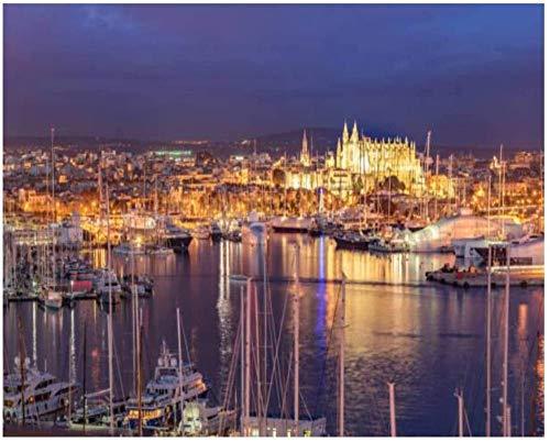 Vista de la ciudad y el puerto de Palma de Mallorca iluminados de noche Kits de pintura por números para adultos, niños, bricolaje, cuadro de arte de pared, lienzo enmarcado, juego de pintura al óleo