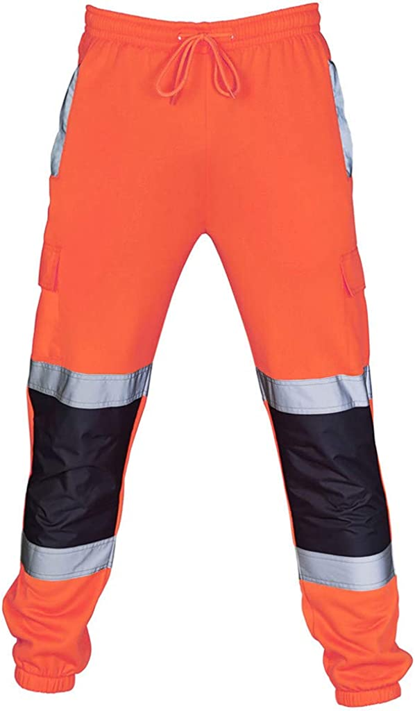 Mens Casual Cargo Pants Hi Vis Viz Reflective Overalls High Visibility Safe Work Pants Outdoor Hiking Trousers Big and Tall
