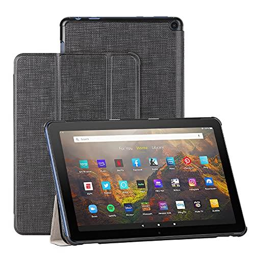 Foluu Hülle für Fire HD 10/Fire HD 10 Plus 2021, Auto Sleep/Wake Magnetic dünn leicht mit dreifach faltbarem Ständer Smart PU Schutzhülle für Amazon Fire HD 10 Tablet 11. Generation 2021 (schwarz)