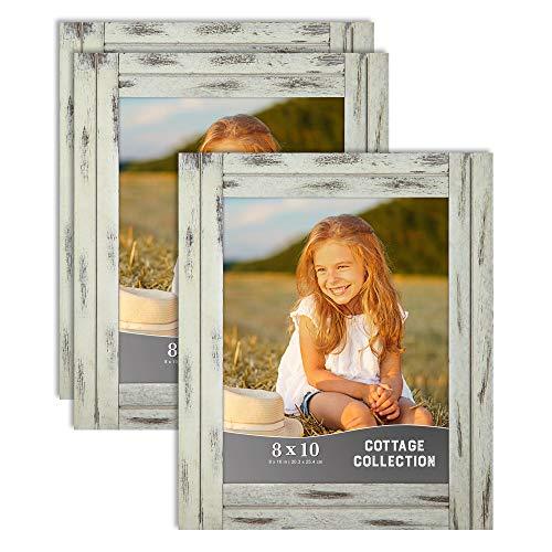Icona Bay molduras de fotos 20,32 x 25,4 cm, conjunto de molduras rústicas para fotos, molduras naturais de madeira verdadeira, coleção de chalés, Country Cream, 3, 3