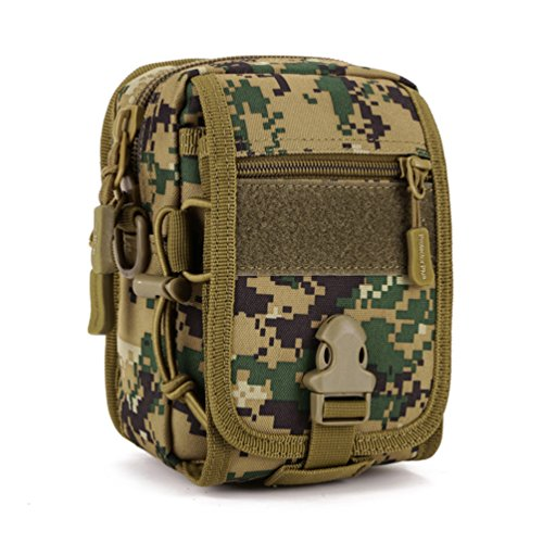 UNISTRENGH Tactical MOLLE Phone Magazine Pouch Military Small Velcro Belt Pouches Sling Chest Daypack Shoulder Bag Gear Duty Pack for Outdoor Hunting Vest Backpack (Jungle Digital Camo)