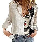 Camisa de algodón de Lino con Pintura al óleo para Mujer - Blusa Suelta con Cuello en V y Manga enrollada Transpirable Informal de Talla Grande
