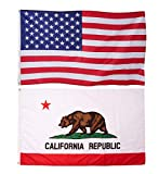 FRF American and California Flag 3×5ft California State Bear 2 Pcs 100% Ployester with Brass Gromment Vibrant Colors