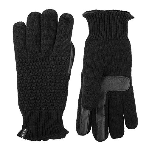 isotoner Women's Knit Texting Plush Lined winter Gloves with Water Repellent Technology