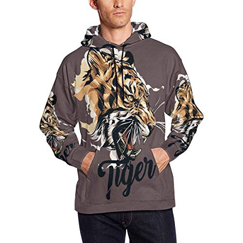 Tiger Watercolor Men's Hoodies Sweatshirt Pullover M