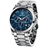 Black Special Friday Price Cut - BENYAR Wrist Watches for Men Quartz Movement Analog Chronograph Business Sport Design Mens Watch Stainless Steel Strap 3ATM Waterproof Stylish Elegant Gifts for Men
