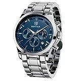 BENYAR Reloj de Pulsera de Lujo para Hombre | Reloj de Cuarzo analógico de Acero Inoxidable con cronógrafo | 30M Reloj Resistente al Agua y a los arañazos - Caja Plateada con Esfera Azul