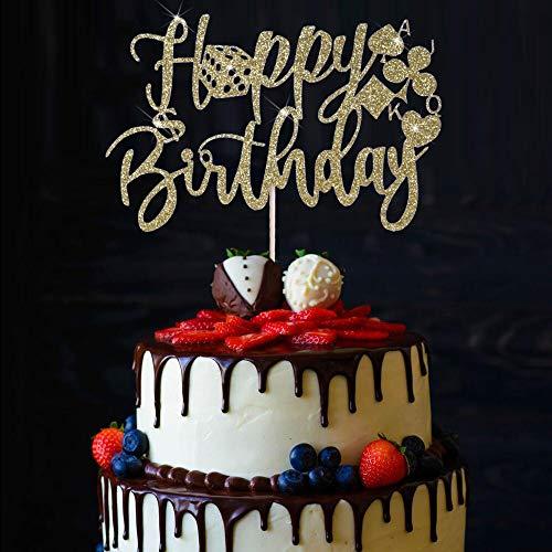 YUINYO Handmade Glitter Poker happy birthday Cake Topper,Casino Cake Topper Poker Heart Cupcake Toppers Decor,Birthday Night Party Decoration Supplies (Gold)