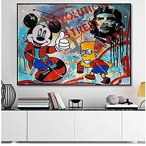 Canvas print,Modulaire Canvas HD Prints Nordic Cartoon Leuke Mickey Mouse Foto Muur Schilderijen Home Decor Posters Voor Woonkamer-60x80cm