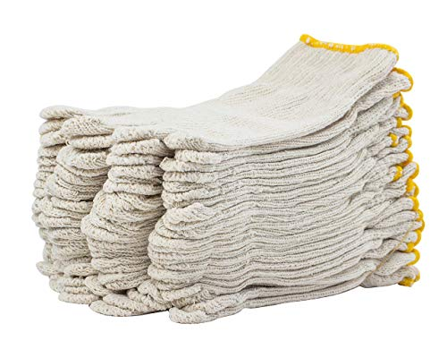 """300 Pack Beige String Knit Gloves 10"""" Large Size. Washable Glove with Elastic Knit Wrist. Cotton Polyester Gloves. Plain Seamless Workwear Gloves. Industrial Work Gloves for Men. Wholesale price."""