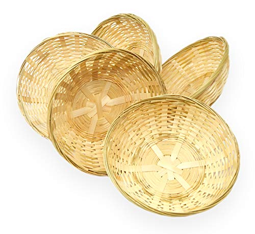 Lashuma 5er Korbset Runde Bambuskörbchen, Geflochtener Brotkorb und Dekokorb, Kleiner Geschenk Korb 20 cm zum Befüllen