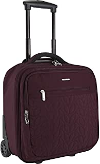 Quilted Anti-Theft Wheeled Underseat Carry-On Bag with RFID Protection - Dark Bordeaux